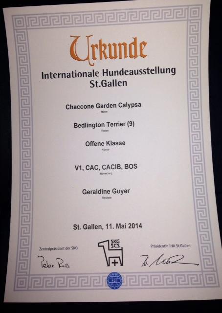 Urkunde Internationale Hundeausstellung St. Gallen